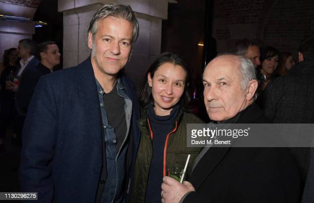 Rupert Graves Susie Lewis and Nicholas Woodeson attend the press night after party for Betrayal at The Cafe In The Crypt St MartinintheFields on...