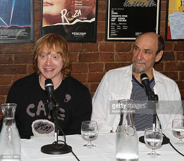 """Rupert Grint and F. Murray Abraham attend the """"It's Only A Play"""" Cast Photocall at Joe Allen Restaurant on August 19, 2014 in New York City."""