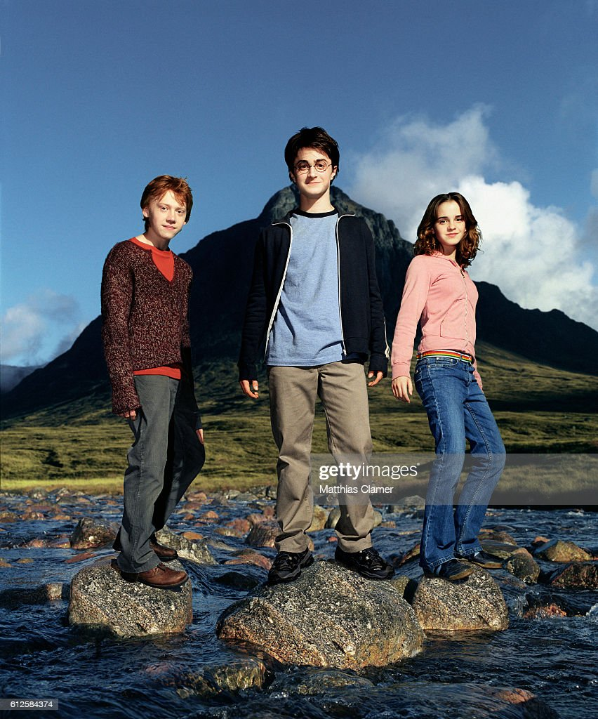 Rupert Grint as Ron Weasley (left), Daniel Radcliffe as Harry Potter, and Emma Watson as Hermione Granger in the film Harry Potter and the Prisoner of Azkaban, the third film in the series.