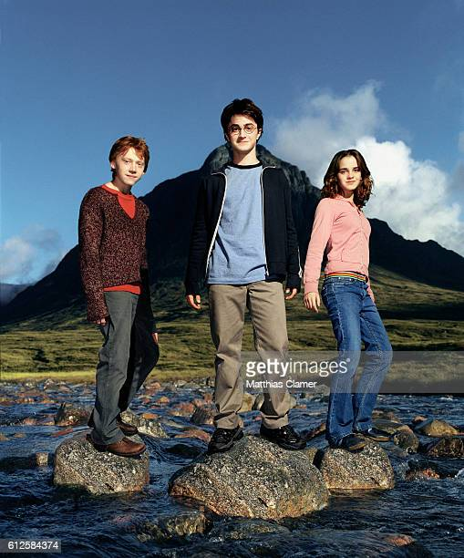 Rupert Grint as Ron Weasley , Daniel Radcliffe as Harry Potter, and Emma Watson as Hermione Granger in the film Harry Potter and the Prisoner of...