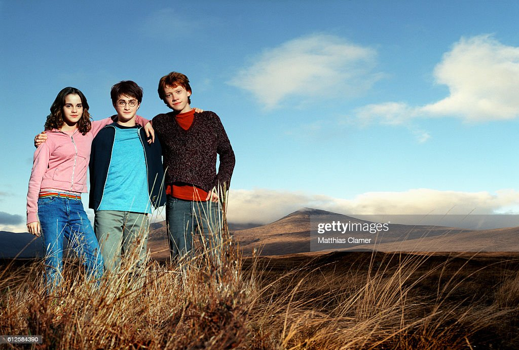 Rupert Grint as Ron Weasley (right), Daniel Radcliffe as Harry Potter, and Emma Watson as Hermione Granger in the film Harry Potter and the Prisoner of Azkaban, the third film in the series.