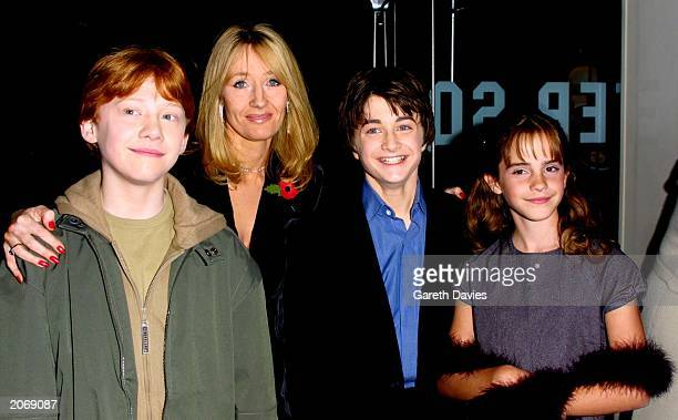 Rupert Grint author JK Rowling Daniel Radcliffe and Emma Watson attend the world film premiere of 'Harry Potter and The Philosopher's Stone' at the...