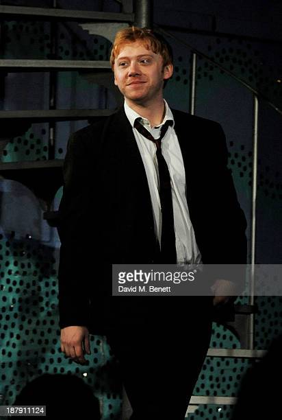 Rupert Grint bows at the curtain call during the press night performance of 'Mojo' at the Harold Pinter Theatre on November 13 2013 in London England