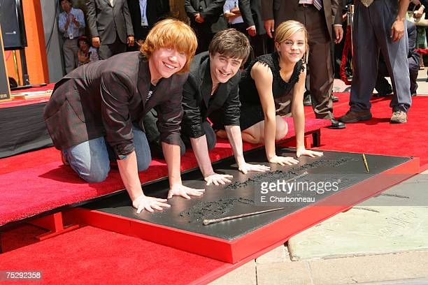 Rupert Grint, Daniel Radcliffe and Emma Watson at the Hand, Foot and Wand-Print Ceremony at Grauman's Chinese Theatre on July 8, 2007 in Hollywood,...