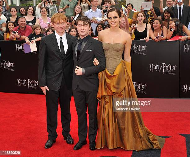 Rupert Grint Daniel Radcliffe and Emma Watson attend the New York premiere of Harry Potter And The Deathly Hallows Part 2 at Avery Fisher Hall...