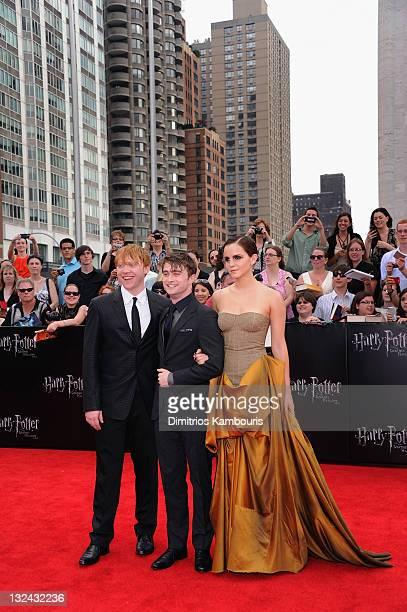 Rupert Grint Daniel Radcliffe and Emma Watson attend the premiere of Harry Potter and the Deathly Hallows Part 2 at Avery Fisher Hall Lincoln Center...