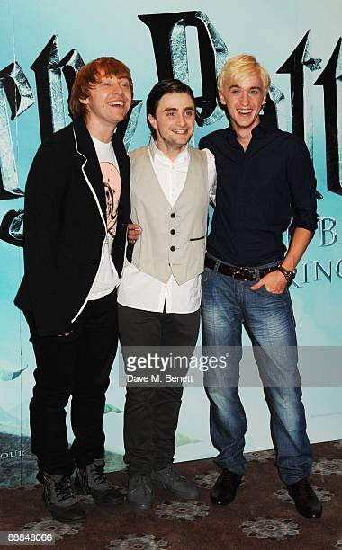 Rupert Grint Daniel Radcliffe and Tom Felton pose during the photocall of ''Harry Potter and the HalfBlood Prince'' at Claridge's Hotel on July 6...