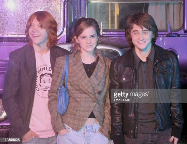 Rupert Grint Emma Watson and Daniel Radcliffe during Harry Potter and the Prisoner of Azkaban DVD Launch at Middle Temple Lane in London United...