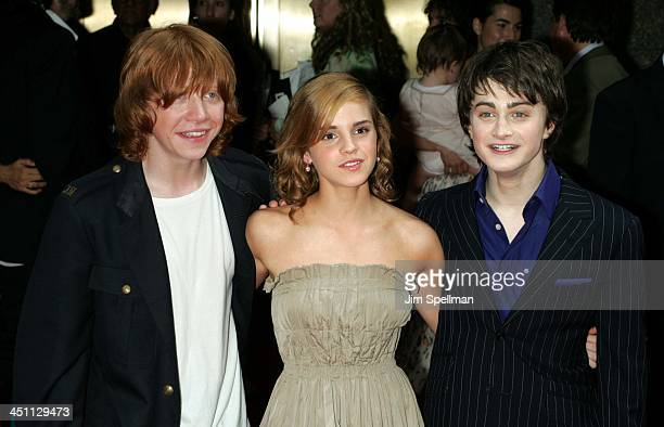 Rupert Grint Emma Watson and Daniel Radcliffe during Harry Potter and the Prisoner of Azkaban New York Premiere Arrivals at Radio City Music Hall in...
