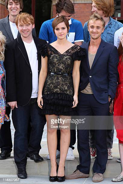 Rupert Grint Emma Watson and Tom Felton attend a photocall for Harry Potter and the Deathly Hallows at The Renaissance St Pancras Hotel on July 6...