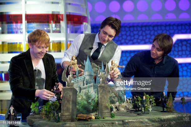 Rupert Grint James Phelps and Oliver Phelps attend 'El Hormiguero' Tv Show at Vertice Studio on June 29 2011 in Madrid Spain