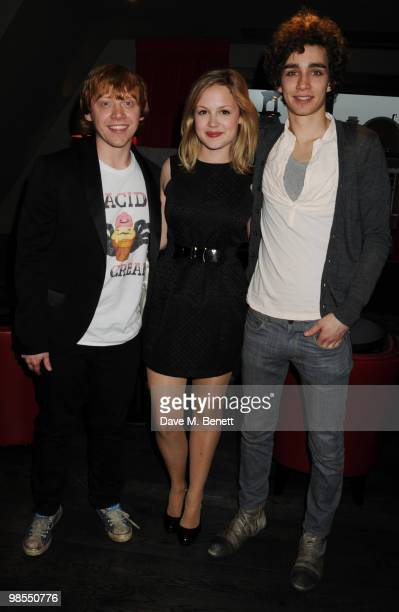 Rupert Grint Kimberley Nixon and Robert Sheehan attend the private screening of 'Cherrybomb' at Beaufort House on April 19 2010 in London England