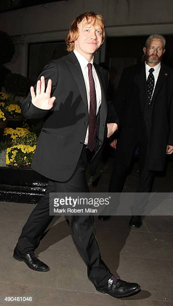 Rupert Grint leaving the Pride of Britain awards at the Grosvenor hotel great room on September 28 2015 in London England