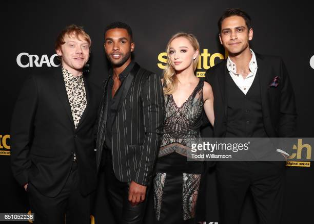 Rupert Grint Lucien Laviscount Phoebe Dynevor and Luke Pasqualino attend a premiere screening of Crackle's 'Snatch' at Arclight Cinemas Culver City...