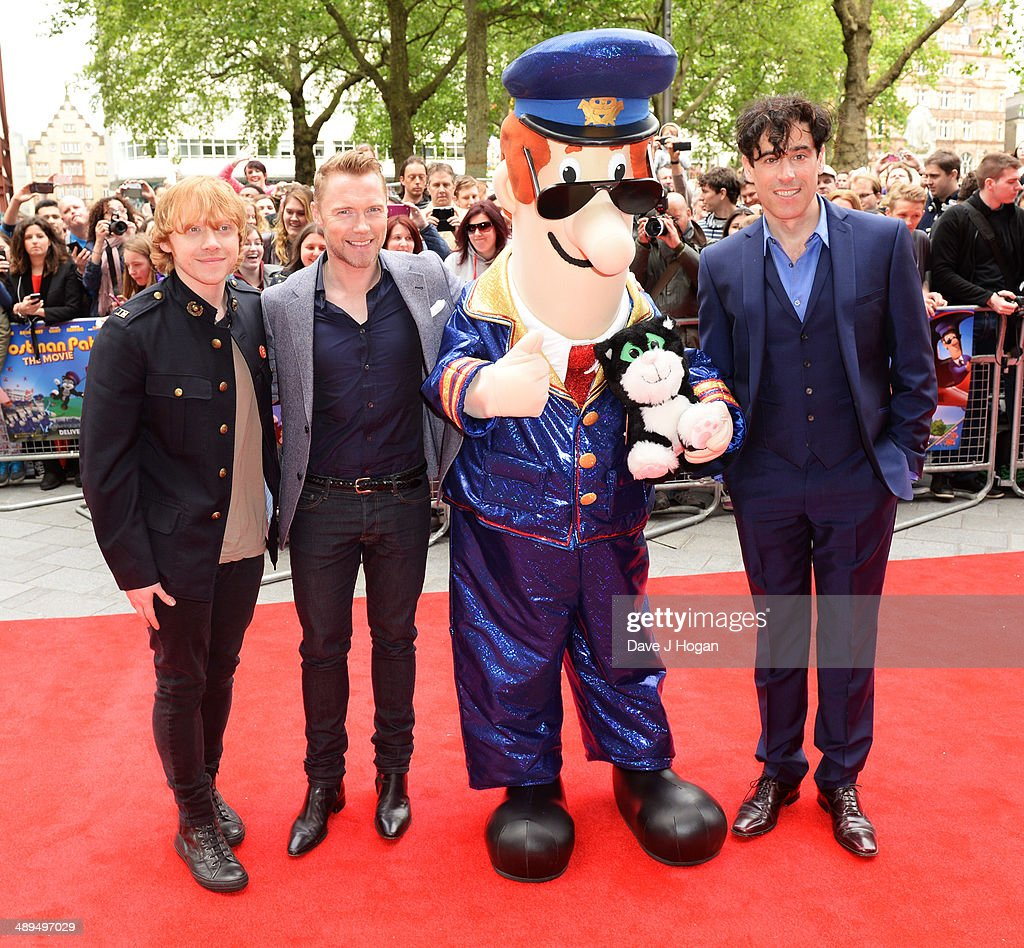 Rupert Grint, Ronan Keating and Stephen Mangan attend the UK premiere of 'Postman Pat' at the Odeon West End on May 11, 2014 in London, England.