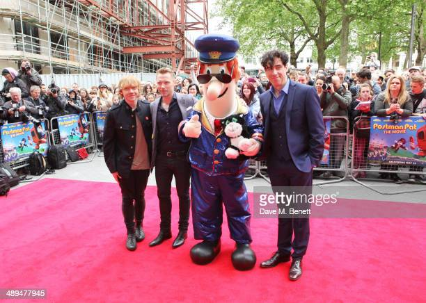 Rupert Grint Ronan Keating Postman Pat and Stephen Mangan attend the World Premiere of 'Postman Pat' at Odeon West End on May 11 2014 in London...