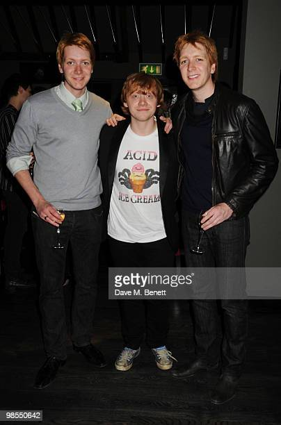 Rupert Grint with James Phelps and Oliver Phelps attend the private screening of 'Cherrybomb' at Beaufort House on April 19 2010 in London England