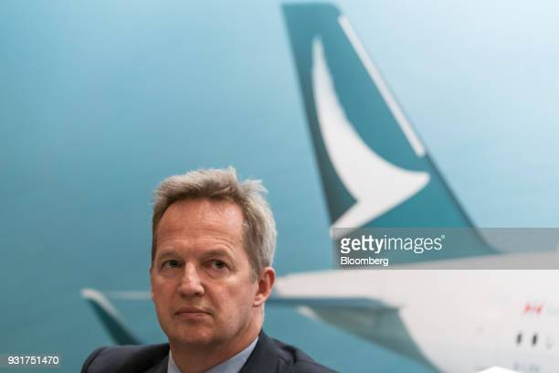 Rupert Hogg chief executive officer of Cathay Pacific Airways Ltd attends a news conference in Hong Kong China on Wednesday March 14 2018 Asias...