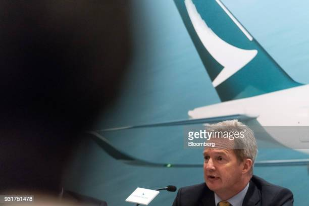 Rupert Hogg chief executive officer of Cathay Pacific Airways Ltd speaks during a news conference in Hong Kong China on Wednesday March 14 2018 Asias...