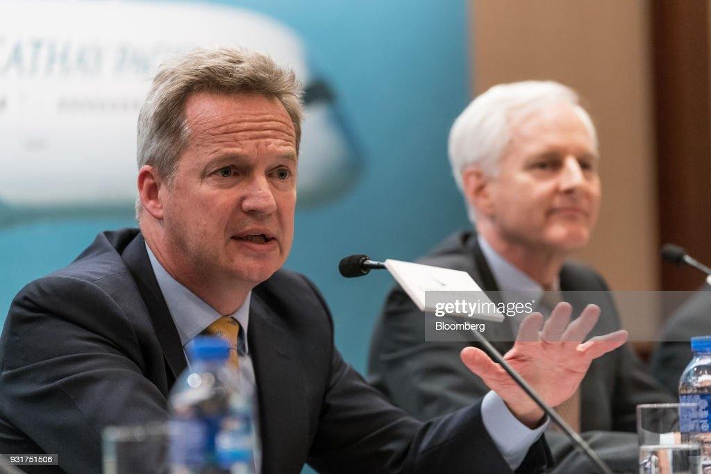 Rupert Hogg, chief executive officer of Cathay Pacific Airways Ltd., speaks during a news conference in Hong Kong, China, on Wednesday, March 14, 2018. Asias biggest international carrier reported a surprise profit in the second half of 2017, with a pick-up in cargo and premium-travel demand helping narrow the full-yearnet lossto HK$1.26 billion ($161 million).Photographer: Anthony Kwan/Bloomberg via Getty Images