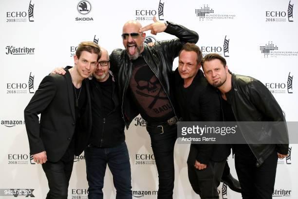 Rupert Keplinger Achim Faerber Alexander Wesselsky Jochen Seibert and Juergen Plangger of the band 'Eisbrecher' arrive for the Echo Award at Messe...