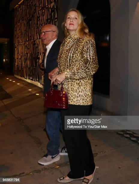 Rupert Murdoch and Jerry Hall are seen on April 12 2018 in Los Angeles California