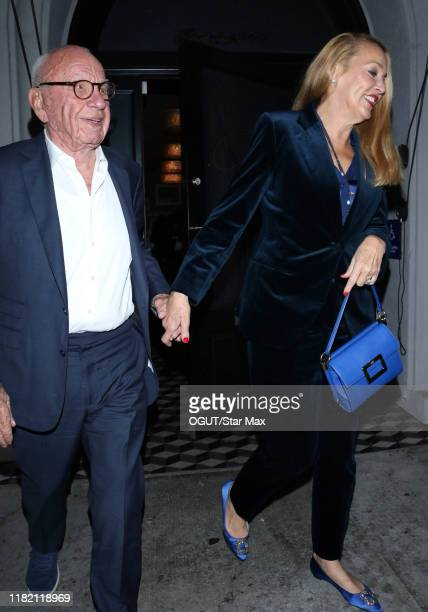 Rupert Murdoch and Jerry Hall are seen on November 12 2019 in Los Angeles California