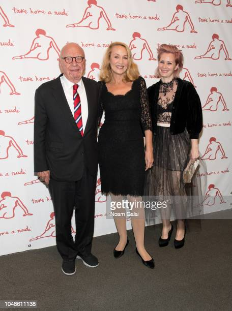 Rupert Murdoch and Jerry Hall attend 'Take Home A Nude' New York Academy of Art benefit at Sotheby's on October 9 2018 in New York City