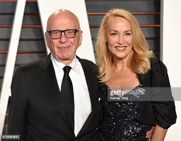 Rupert Murdoch and Jerry Hall attend the 2016 Vanity Fair Oscar Party Hosted By Graydon Carter at Wallis Annenberg Center for the Performing Arts on...