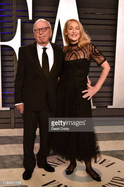 Rupert Murdoch and Jerry Hall attend the 2019 Vanity Fair Oscar Party at Wallis Annenberg Center for the Performing Arts on February 24 2019 in...