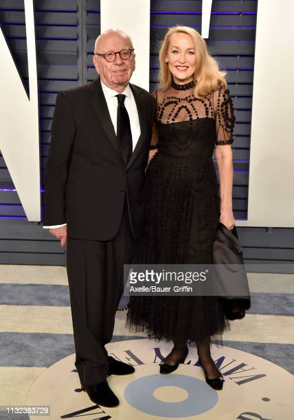 Rupert Murdoch and Jerry Hall attend the 2019 Vanity Fair Oscar Party Hosted By Radhika Jones at Wallis Annenberg Center for the Performing Arts on...