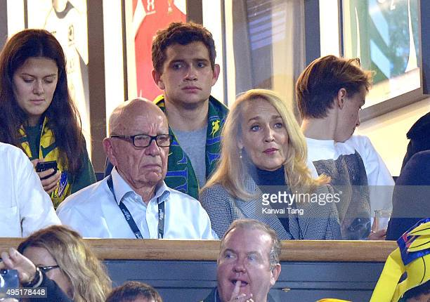Rupert Murdoch and Jerry Hall attend the Rugby World Cup Final match between New Zealand and Australia during the Rugby World Cup 2015 at Twickenham...