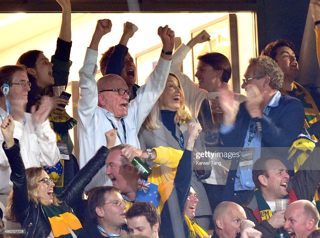 Rupert Murdoch and Jerry Hall attend the Rugby World Cup Final match between New Zealand and Australia during the Rugby World Cup 2015 at Twickenham Stadium on October 31, 2015 in London, United Kingdom.