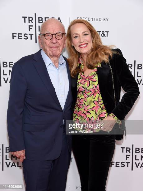 Rupert Murdoch and Jerry Hall attend the The Quiet One screening at the 2019 Tribeca Film Festival at SVA Theater on May 02 2019 in New York City