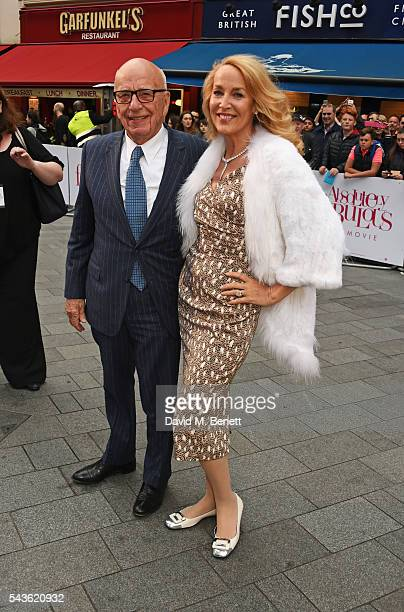 """Rupert Murdoch and Jerry Hall attend the World Premiere of """"Absolutely Fabulous: The Movie"""" at Odeon Leicester Square on June 29, 2016 in London,..."""
