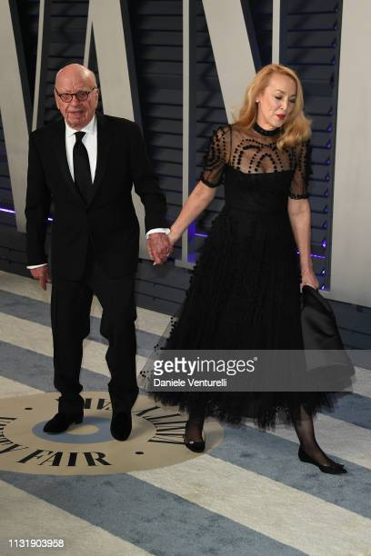 Rupert Murdoch and Jerry Hall attends 2019 Vanity Fair Oscar Party Hosted By Radhika Jones at Wallis Annenberg Center for the Performing Arts on...