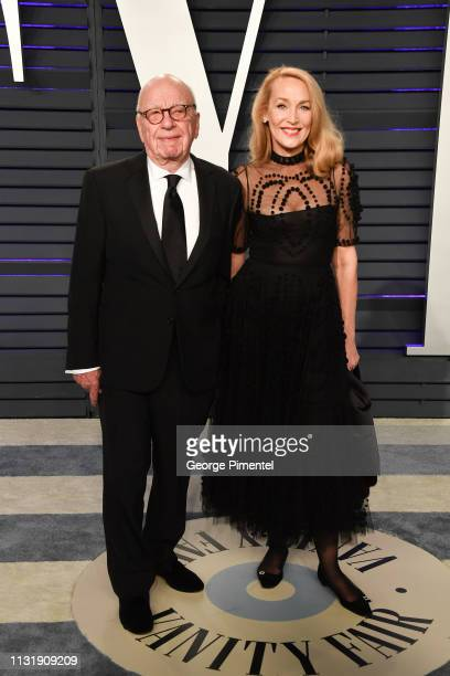 Rupert Murdoch and Jerry Hall attends the 2019 Vanity Fair Oscar Party hosted by Radhika Jones at Wallis Annenberg Center for the Performing Arts on...