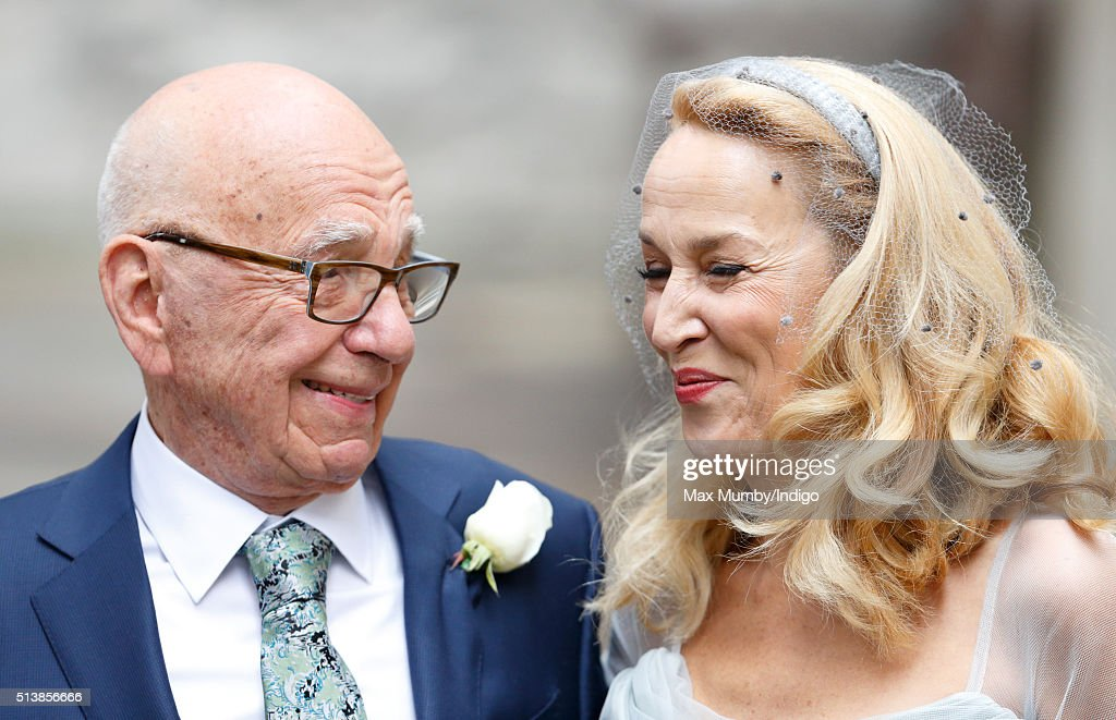 Rupert Murdoch and Jerry Hall leave St Bride's Church after their wedding on March 5, 2016 in London, England.