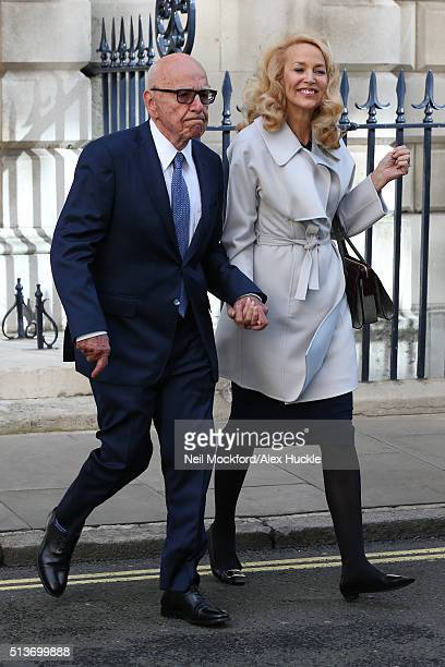Rupert Murdoch and Jerry Hall seen leaving Spencer House after getting married on March 4 2016 in London England