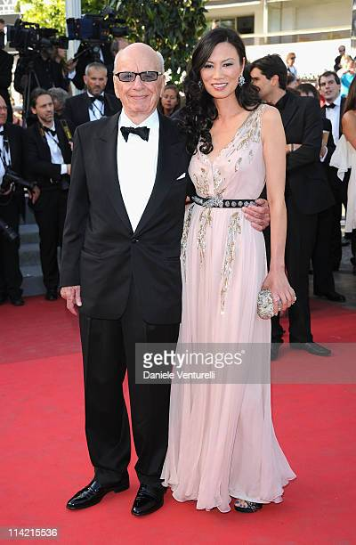 "Rupert Murdoch and Wendi Deng Murdoch attend ""The Tree Of Life"" Premiere during the 64th Annual Cannes Film Festival at Palais des Festivals on May..."