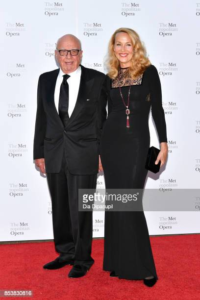 Rupert Murdoch and wife Jerry Hall attend the 2017 Metropolitan Opera Opening Night at The Metropolitan Opera House on September 25 2017 in New York...