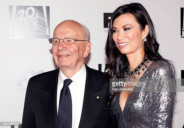 Rupert Murdoch and wife producer Wendi Murdoch arrive at the FOX 2011 Golden Globes after party at 9900 Wilshire Blvd on January 16 2011 in Beverly...