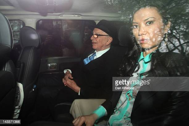 Rupert Murdoch and wife Wendi Deng Murdoch leave the High Court after giving evidence to the Leveson Inquiry on April 25 2012 in London England This...
