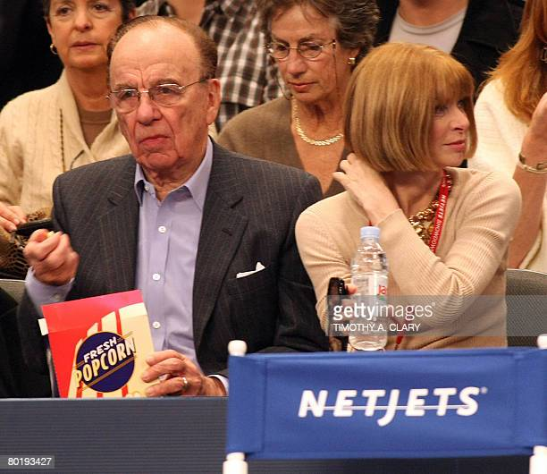 Rupert Murdoch AustralianAmerican global media tycoon and Vogue editorinchief Anna Wintour watch the match between the worlds number one tennis...