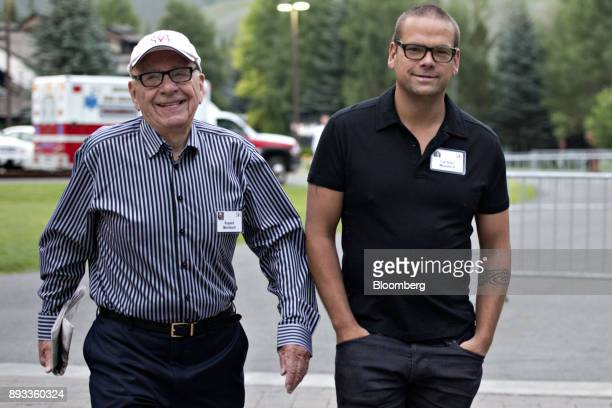Rupert Murdoch chairman and chief executive officer of News Corp left walks with his son Lachlan Murdoch a board member of News Corp while arriving...