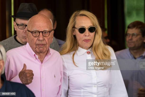 Rupert Murdoch chairman of News Corp and cochairman of 21st Century Fox and Jerry Hall arrive at the Sun Valley Resort of the annual Allen Company...