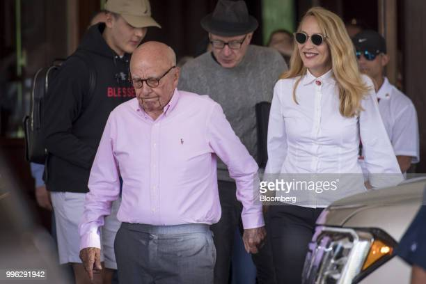 Rupert Murdoch cochairman of TwentyFirst Century Fox Inc and Jerry Hall arrive for the Allen Co Media and Technology Conference in Sun Valley Idaho...