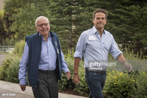 Rupert Murdoch, co-chairman of Twenty-First Century Fox Inc., left, and Lachlan Murdoch, co-chairman of Twenty-First Century Fox Inc., arrive for a...