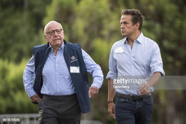 Rupert Murdoch cochairman of TwentyFirst Century Fox Inc left and Lachlan Murdoch cochairman of TwentyFirst Century Fox Inc arrive for a morning...