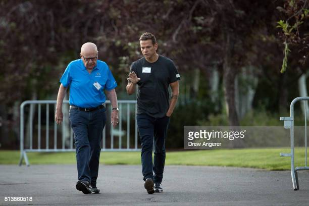 Rupert Murdoch executive chairman of News Corp and chairman of Fox News and Lachlan Murdoch cochairman of 21st Century Fox walk together as they...